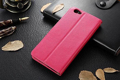 Für OPPO R9s Plus Case Cover Horizontale Flip Stand Weiche echtes Leder Litchi Texture Case mit Halter & Card Cash Slots & Foto Frame ( Color : Black ) Red