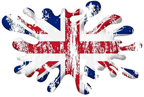 Weiches Heavy Alte Retro Blasen Design mit Union Jack Uj Britische Flagge Außen- Vinyl Pkw Lkw Motorrad Aufkleber 150x100mm -