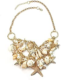 OULII Sea Shell Pearl Pendant Necklace Collar Chain for Women's Ladies (Golden)