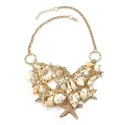 Kostüm Meerjungfrau Billig - LEORX Damen Damen Halskette Halsband Kette mit Sea Shell Pearl Anhänger (Golden)