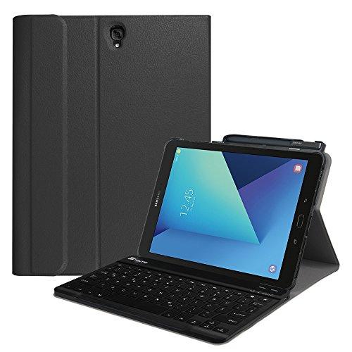 galaxy s3 zubehoer Fintie Tastatur Hülle für Samsung Galaxy Tab S3 T820 / T825 (9,68 Zoll) Tablet-PC - Ultradünn leicht Ständer Schutzhülle mit magnetisch Abnehmbarer drahtloser Deutscher Bluetooth Tastatur, Schwarz