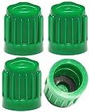 PRESKIN 4 er Set Premium Auto Sicherheits-Ventilkappen Secure Grün Valve Caps für Auto, Motorrad und Fahrrad – Bessere Dichtheit