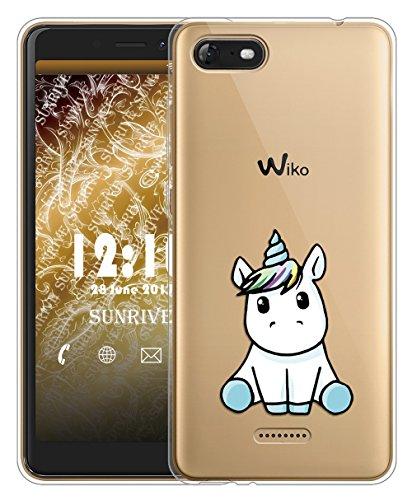 Sunrive Für Wiko Tommy 3 Hülle Silikon, Transparent Handyhülle Schutzhülle Etui Case für Wiko Tommy 3(TPU Einhorn 3)+Gratis Universal Eingabestift