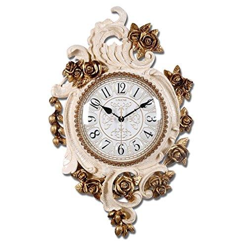 Bonne action Horloge murale Européenne Rose Horloge Murale Rétro Horloge Murale Simple face Horloge Murale Décorative Salon Pastorale Quiet Horloge ( Couleur : A )