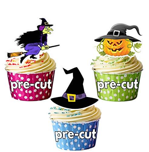 Vorgeschnittene Halloween Hexenhüte Kessel Kürbisse Mix - Essbare Cupcake Topper / Kuchendekorationen (12 Stück)