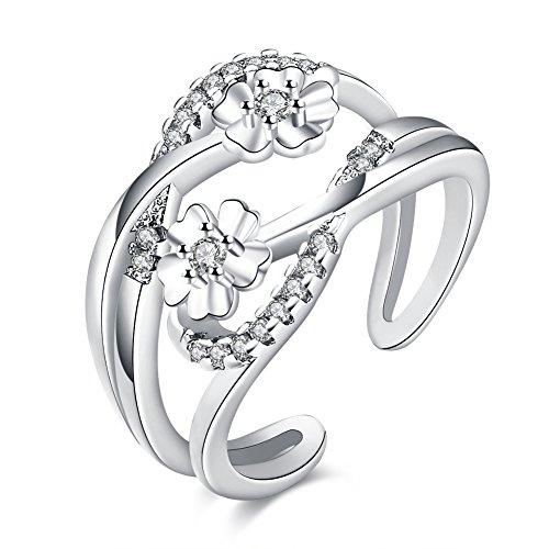 FJYOURIA Frauen justierbarer 2 Blume geöffneter Daumen-Finger-Ring 18ct Rose Gold / Platin überzogener Ring mit glänzendem Kristall (Platiniert)