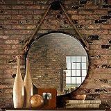 Espejo de Pared contemporáneo con Cuerda Colgante de Cuerda de cáñamo   Marco de Metal Negro   Espejo de vanidad de Maquillaje Redondo decoración de la Pared