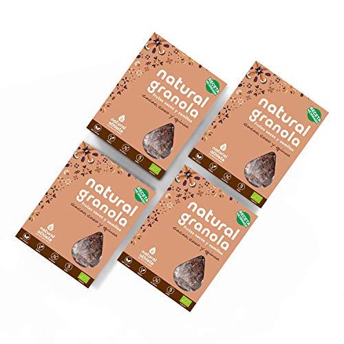 Granola Cacao, Coco y Quinoa - Natural Athlete - Desayuno con frutos secos y semillas - 100{b340f15c272208e78d111575cd294285119b264237855303b65057ee2306cb5d} Natural - BIO - Sin Gluten - Sin Lactosa - Vegano - Sin Azúcar Refinado añadido. Pack 4x325gr