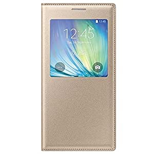 Window View Leather Flip Cover Case for Samsung Galaxy J5 [ NOT FOR J5 - 6 ( 2016 ) ] - Gold