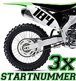 HR-WERBEDESIGN 3X Startnummer Wunschnummer Motorrad Motocross x Aufkleber ATV MX Enduro Boot di