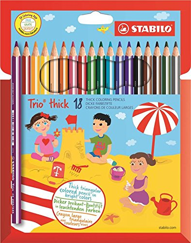 STABILO Trio thick - Lápiz de color triangular grueso - Estuche con 18 colores