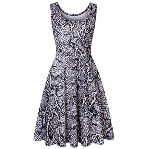 re Rockabilly Damen Vintage Polka Dots Blumendruck Bodycon Ärmellos Casual Abend Prom Swing Kleid Röcke Petticoa ()