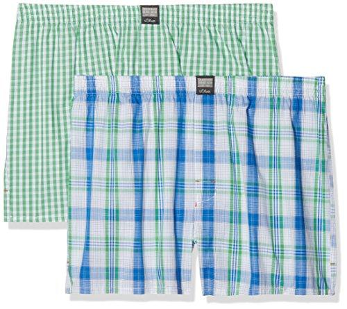 s.Oliver Herren Boxershorts 26.899.97.4230, Mehrfarbig (Check Ivory & Check Green 11c5), XX-Large (Herstellergröße: 8)