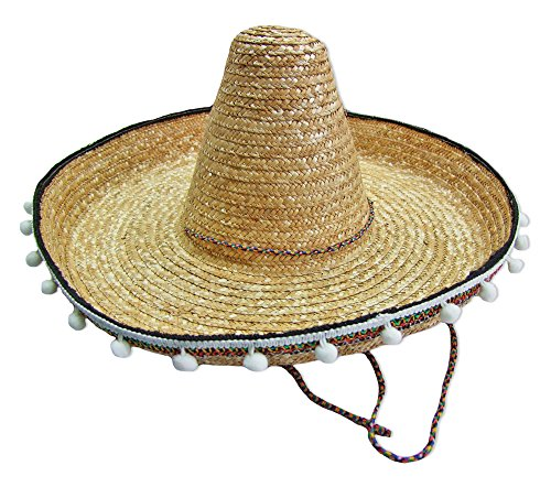 Mexikaner Sombrero mit Troddeln - 50 cm Durchmesser - Natur - Toller Mexiko Hut für Erwachsene zum Kostüm