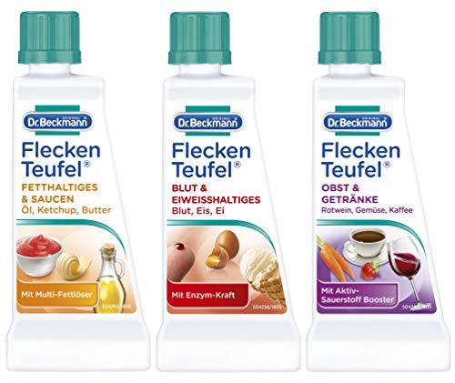 Dr. Beckmann Fleckenteufel Set, Fleckenentferner für Fetthaltiges & Saucen, Blut & Eiweißhaltiges, Obst & Getränke