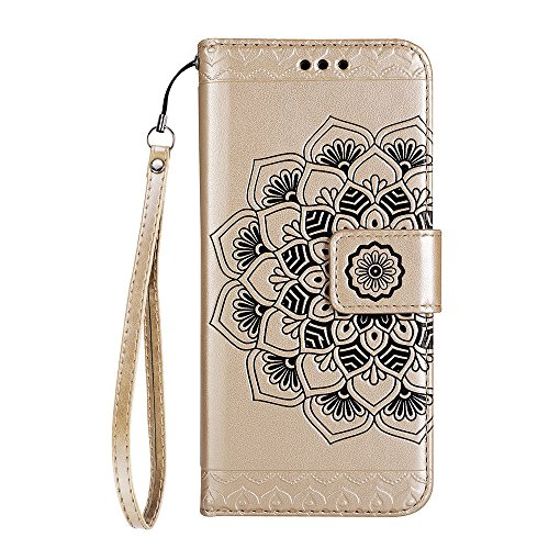"iPhone 7 Plus Lederhülle YOKIRIN Wallet Case für iPhone 7 Plus (5.5"") Schutzhülle Abtrennbar Hälfte Totem Blumen Handyhülle Amphibisch PU Leder Flipcase Brieftasche TPU Innenschale Bookcase Folio Hand Gold"