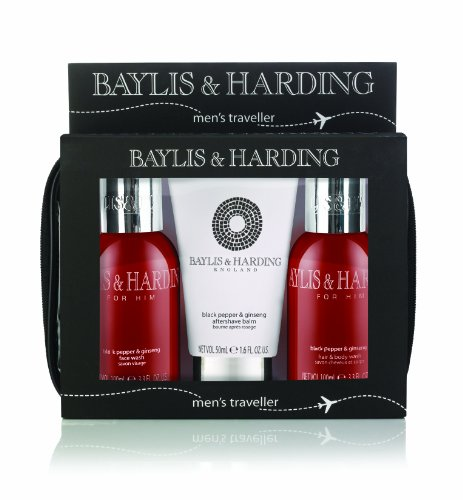 Baylis and Harding Mens Men's Black Pepper and Ginseng Travel Set