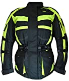 2263 Bangla Motorradjacke Damen Tourenjacke Schwarz Neon Gelb XXL