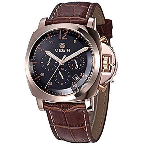 megir Hommes de Luxe Horloge de Bonhomme de Chronographe de Montre Bracelet à Quartz de Cuir véritable Hommes de Sport