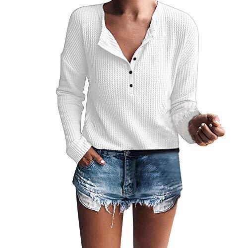 Btruely Pullover Damen V-Ausschnitt Winter Herbst Loose Fit Sweatshirt Gestrickte Langarmshirt Tunic Langarm Jumper Henley Shirt