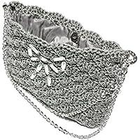 TECLA - Borsetta clutch grigio perla, pochette da sera foderata realizzata a mano con uncinetto, chiusura a calamita