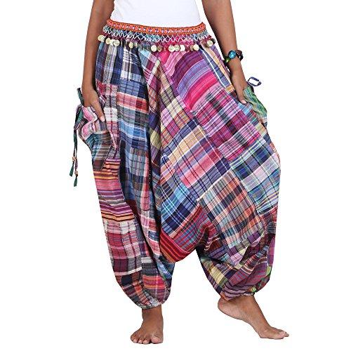 Patchwork Hippie Hose Haremshose Aladinhose Pumphose für Damen & Herren 36 38 40 42 (Patchwork Hippie)