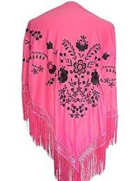 La Señorita Mantones bordados Flamenco Manton de Manila rosa con flores negro