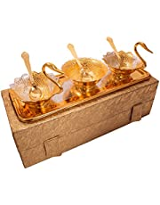 Jaipur Ace Designer Silver Gold Plated Swan Shaped Bowl Set for Make Dining, Serve Best to Your Guest, Hotel etc.