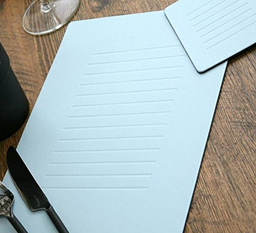NEW Set of 4 PASTEL BLUE Embossed Leatherboard PLACEMATS Table Mats & 4 COASTERS (Platzset und Untersetzer) -