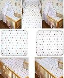 5-20 teiliges Baby Bettset mit Bettwäsche Vollstoff Himmel Nestchen STAR BLAU ROSA Blau 6 tlg