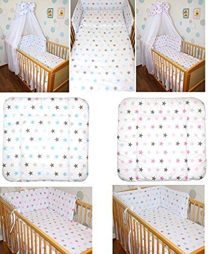 5-20 teiliges Baby Bettset mit Bettwäsche CHIFFON Himmel Nestchen STAR ROSA BLAU Blau 9 tlg