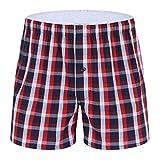 Auiyut Herren Pyjamahose Unterhosen Baumwolle Shorts Schlafshorts Boxerhosen Schlafanzughose Kurz 2020 Frühling Sommer Freizeithose Kariert Loungewear Schlafanzughose