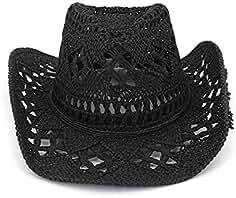 Ladies Summer Sun Straw Hats Donna Cappello da Cowboy Cowgirl di Paglia Cappello  da Sole Western 4434df2cbcb5