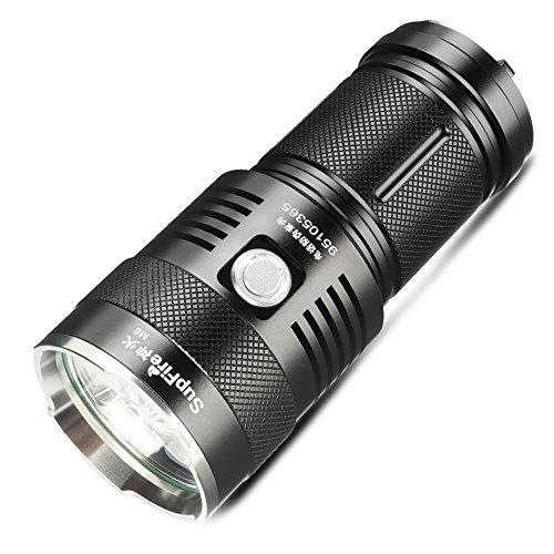 Supfire Taschenlampe CREE LEDx3 Taktische Taschenlampe Wasserfester Fackel Super Hell 2300 Lumen Handlampe mit 4 18650 Batterien und Ladegerät Enthalten,5 Modi für Camping Wandern Angeln,Modell M6