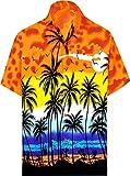 LA LEELA | Funky Camicia Hawaiana da Uomo | XS - 7XL | Maniche Corte | Tasca Frontale | Stampa Hawaiana | Estivo Estate Spiaggia Palme Arancione_W138 S - Torace (in CMS) : 96-101