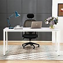 Need Escritorios 140x60cm Mesa de Ordenador Escritorio de Oficina Mesa de Estudio Puesto de trabajo Mesa de Conferencias Talla grande, Blanco