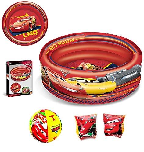 Set mare n.11 piscina 3 anelli + braccioli + palla gonfiabile (cars disney)