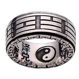 FORFOX Herren Damen Vintage 925 Sterling Silber Taoismus Tai Chi Yin Yang Spinning Ring 10 mm