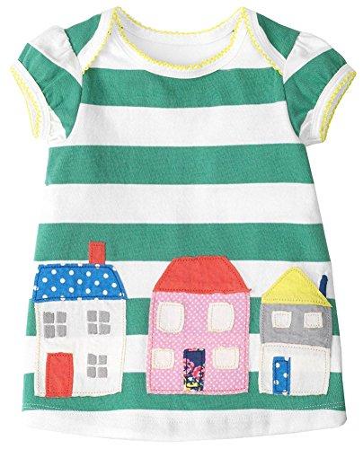 Kaily Mädchen Baumwolle Sommer kurze Ärmel T-shirt Kleid(Haus,5 Jahren) (Kleid Haus)