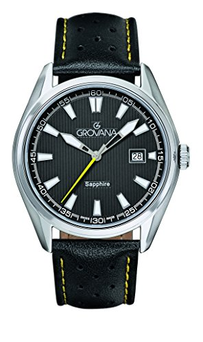 Grovana Men's Quartz Watch with Black Dial Analogue Display and Black Leather Strap 1584.1538