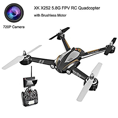 XK X252 5.8G FPV 7CH 6-Axis Gyro Drone RC Quadcopter RTF 1804 Brushless Motor, with 720P Camera -Black from XK