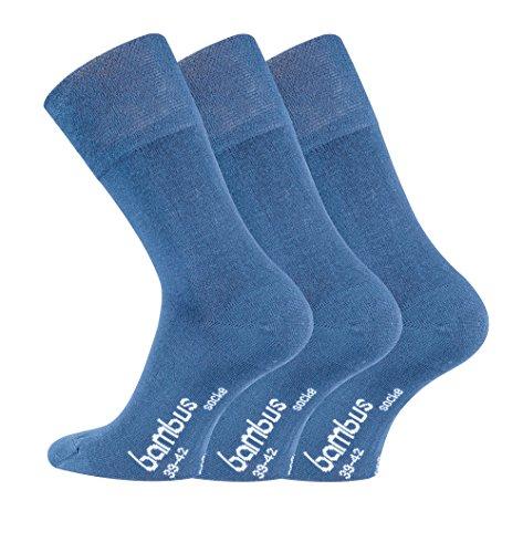 FussFreunde, 6 Paar TippTexx24 Bambus Socken, Bambussocken, Gesundheitssocken ohne Gummidruck plus 6 Stück praktische Sockenclips (39-42, jeans) (Umweltfreundliche Jeans)