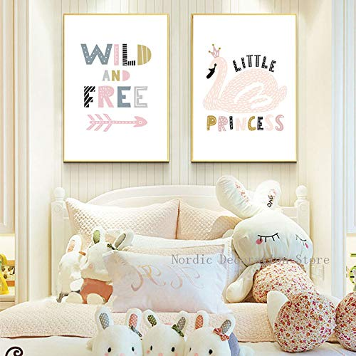 adgkitb canvas Nordic Mädchen Prinzessin Zimmer Leinwand Bunte Wilde Cartoon Kinder Wandkunst Dekoration Enfant s 30x45cmx2 KEIN Rahmen