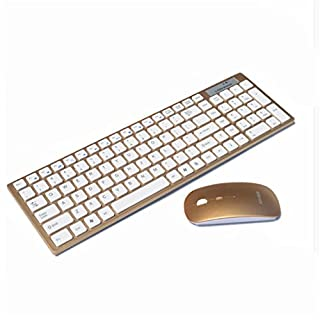 ZYPMM Home Mini Wireless Keyboard Maus Set Ultra Thin Notebook Desktop PC Büro ( Color : Earthly gold )