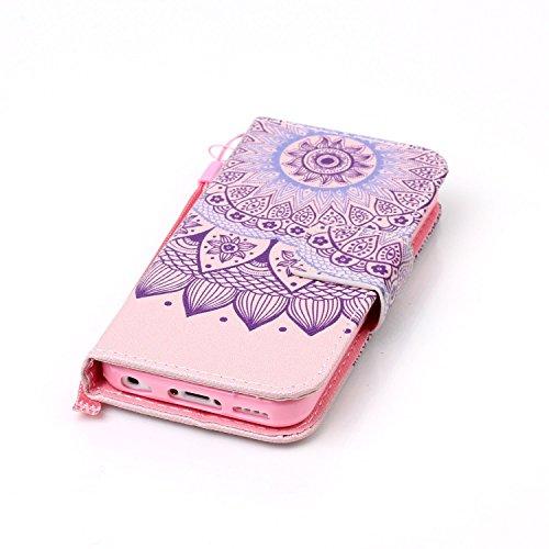 Voguecase Pour Apple iPhone 5C Coque, Étui en cuir synthétique chic avec fonction support pratique pour Apple iPhone 5C (Bandes noires)de Gratuit stylet l'écran aléatoire universelle Dentelle tapis 04 / violet