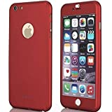 iPaky 360 Protective Body Case with Tempered Glass for Apple iPhone 6 6S - Red