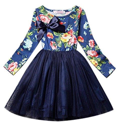Eyekepper Maedchen lange Huelse Blume gedruckte Tulle Kleid Blau
