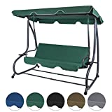 4-Sitzer Hollywoodschaukel klappbar mit Bettfunktion RAIVENNA mit Sonnendach und Liegefunktion für 4 Personen , Farbe:Galapagosgrün