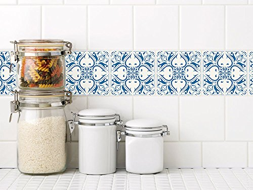 Graz Design Fliesenaufkleber Mosaik   Ornamente Weiß   Blau | Deko Fliesen  Wandfliesen Selbstklebend
