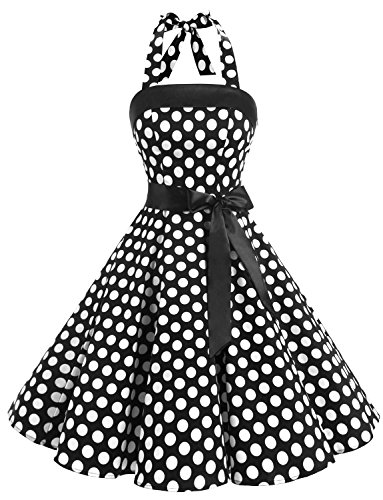 Timormode Damen 1950er Vintage Abendkleid Elegant Neckholder Retro Cocktailkleid Faltenrock Kleid Partykleid Cocktailkleid